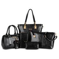 ingrosso prezzo all'ingrosso della borsa-Wholesale-6 picecs bags / lot !!! Borse di prezzi all'ingrosso per il 2015 nuove borse moda grana e coccodrillo di moda europea e americana