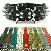 Wholesale large spikes - (10 Colors 4 Sizes) 2inch Wide Spiked & Studded Leather Dog Collars for Pitbull Mastiiff More Breeds
