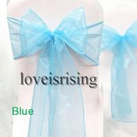 "Wholesale Wedding Items Fabric - Hot item--50pcs Blue Color 8"" (20cm) W x 108"" (275cm) L Organza Chair Sashes Wedding Party Banquet Decor+Free Shipping"