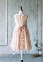 Wholesale Rosette Bow Flower Dress - 2017 Peach Junior Bridesmaid Dress, Square neck Flower Girl Dress, Chiffon and Mesh Beading Dress Rosette dress