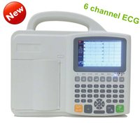 Wholesale Digital Ecg Machine - free shipping 6 channel digital ECG Machine six Channel ecg machine&full keyboard EKG machine& 5.0 color software Electrocardiograph