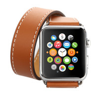 Wholesale double tour - Punk Style Lengthened Double Tour Belt Bracelet Wristband for Apple Watch Band 38mm 42mm Genuine Leather for Iwatch 3 2 1 Strap
