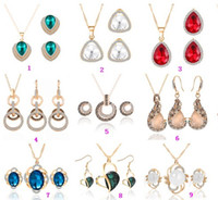 Wholesale China Gold Necklace Designs - Gold Jewelry Sets Shining Crystal Opal Pendant Necklaces Earrings Jewelry Sets For Women 9 Designs HZ