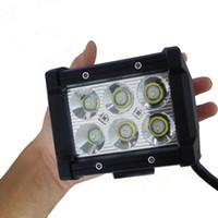 atv sel ışıkları led toptan satış-4 inç 18 W 6 LEDs LED İş Işık Çubuğu SUV ATV 4WD 4x4 JEEP Nokta Sel Işın Kapalı Yol Sürüş Sis Lambası Spot işın Işık Sel Işık