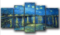 Incorniciato 5 Panal Large Van Gogh Impressional Pittura di alta qualità Wall Art Canvas Picture Home Decor