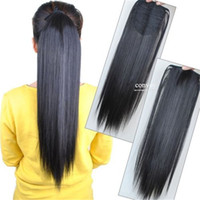 Wholesale Clip Long Straight Ponytail - Woman Ladies Long Straight Pony Tail Drawstring Easy Clip in Hair Extensions Ponytail Wrap Around Hairpiece Free Shipping PT44
