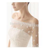 Wholesale Lace Jackets For Wedding Dresses - Unique Design Wedding Bridal Wraps Half Long Sleeves Newest Lace Applique Bolero Jackets Shawl Coats For Wedding Dress Bridal Accessories