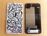 Wholesale black glass housing iphone 4s online – custom Black White With Logo Glass Battery Back Cover Case Housing For iPhone g s CDMA Repair New Replacement