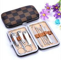 Wholesale Manicure Scissors Set - nail art kits Nail Clipper Kit Nail Care Set Pedicure Scissor Tweezer Knife Ear pick Utility manicure set tools DHL