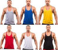 Wholesale Tank Top Yellow Sexy - 2017 Summer Stly Men Blank Stringer Y Back 100% Cotton Tank Top Gym Bodybuilding Clothings Fitness Shirt Sports Vests Muscle Tops