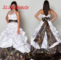 Wholesale Bridal Party Robes - Promotion White Camo Wedding Dresses Robe De Mariage Halter A Line Court Train Women Long Party Dress Bridal Gowns Vestido De Noiva
