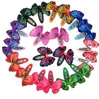 kelebek klibi saç yayları toptan satış-20 adet Kelebek Saç Şerit Yaylar Saç Klip Yaylar Bebek Kız Bobby Pin Çocuk Saç Pins Moda Tokalar Katı Bantlar