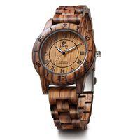 Wholesale vintage zebra - LeeEv EV2076A Womens Luxury Natural Zebra Sandal Wood Watch Quartz Light Weight Vintage Wooden Wrist Watch For Women