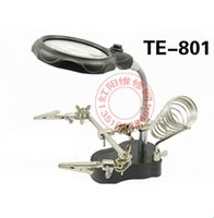 Wholesale Magnifier Pcb - TE-801 Multi-function 2 LED Magnifier PCB Soldering iron Stand Holder Table Magnifying glass 35X 12X