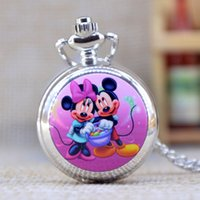 Wholesale Silver Mens Pocket Watches - New Fashion Silver Elegent Lovely Mickey Mouse with Mirror Case Quartz Pocket Watch Analog Pendant Necklace Mens Womens Gifts P362