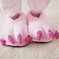 Wholesale Wholesale Paw Pajamas - Wholesale-Animal Pajamas Sets Cosplay Costumes shoes Paw Claw Cartoon Slippers Flat Indoor Family Winter Warm Home Shoes