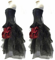 Wholesale Pleated Bustle Wedding Dress - Gothic Corset Fantasy Prom Dresses Beautiful Red and Black Wedding Dress Steampunk Outfit Strapless Hi Lo Bustle Party Gowns