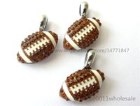 Wholesale Hanging Charms Bracelets - 10pcs DIY Rhinestone American football Hang pendant charms 15x15mm Fit DIY Necklace  Key chain s Phone strip DIY Bracelet HC359