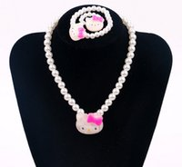 Wholesale Cats Performance - NEW Kids Children Candy color Kitty cat beads Bracelet Necklace performance necklace Bracelet Jewelry Set Best Christmas gift HH61