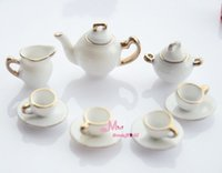 Atacado-Frete Grátis! Porcelana branca China Coffee Tea Cups Pot Lid Set 11 PCS ~ 1/12 Escala Dollhouse Miniature Furniture