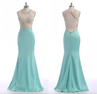 Hunter Long Turquoise Evening Dresses Mermaid Luxury Beading Feito para encomendar Satin Backless Big Ass Sexy Robe De Soiree Roupa barata China