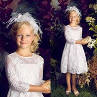 Wholesale Kids Bright Dress - Jewel 3 4 Long Sleeve Flower Girls Dresses 2015 Sheer Lace Appliqued Knee Length A line Hot Kids Bright Dress Custom made
