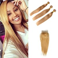 saf saç uzantıları toptan satış-Brezilyalı Siky Düz Saç Demetleri Saf 27 # Bal Sarışın Renk Karışık Uzunluğu Ile 100% Insan Saç Uzantıları Anlaşma