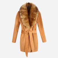 Wholesale Big Coat Belts - Wholesale-New 2015 Winter Women Thicken Coat Big Fur Collar Elegant Long Outwear belt long-sleeved coat wool coat female LQ8888B
