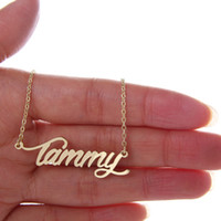 "Wholesale Custom Nameplates - Women Gold Name Necklace Tag "" Tammy "" Stainless Steel Gold and Silver Personalized Custom Nameplate Necklace ,NL-2400"