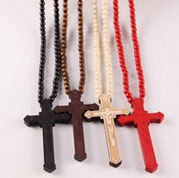 2017 Nova chegada Jesus Cross Pendant Necklace Bom estilo de hip hop de madeira Goodwood Fashion Necklace for Men and Women Whosales
