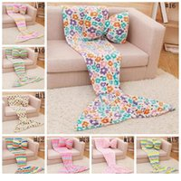 Wholesale air conditioned pillow - Kids Mermaid Blankets warm Tail Blanket Tail Sleeping Bag Sofa Nap Air Condition Super Soft Bedroom Blanket Without Pillow wn307