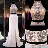Wholesale Halter Top High Neck Dress - Ivory Two Pieces Dresss Prom Gowns High Beaded Neck Halter Open Back Slit Illusion Crop Top Mermaid Prom Dresses Party Gowns