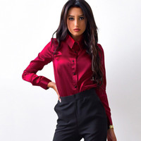 encimeras largas al por mayor-Blusa de satén de seda para mujer, botón, solapa, camisas de manga larga, trabajo de oficina para mujer, elegante, blusa de alta calidad