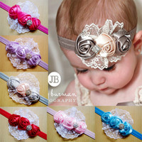 Wholesale Winter Accessories For Girls - Rose Flower Hair Bows Clips Baby Headbands for Girls Lace Frilled Flower Pathwork with Sequins Headbands Cute Baby Hair Accessories