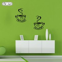 TIE LER New Arrival Beautiful Design Coffee Cups Cafe Tea Wall Stickers Arte Vinil Decal Cozinha Restaurante Pub Decor