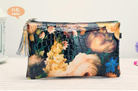 Wholesale Oil Painting Bags - New 2015 Oil Painting Clutch Fashion Women Leather Handbag Hot Landscape Shoulder Bag Cowhide Women Messenger Bag Crossbody Bag