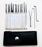 bolsa de juego de selección de bloqueo al por mayor-Buena calidad 12 unids Funda de cuero Lock Pick Case manijas inoxidables con bolsa que retira el conjunto de llaves Herramientas de cerrajería Lockpick Lock Opener BK031