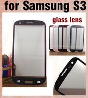 замена переднего стекла галактики s3 оптовых-Samsung galaxy s3 наружное стекло объектива ремонт экрана запчасти передняя крышка смартфона замена экрана s3 сенсорная панель экрана бесплатная доставка SNP008