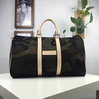 Wholesale Red Duffle Bags - CAMO LUXURY And Fashion Brand KEEPALL BANDOULIERE 45 DUFFLE CAMOUFLAGE HAND BOSTON BAG RED M43466 BANDOULIERE Man And Women Duffel Bags