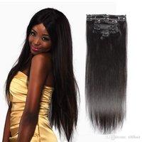 Wholesale European Hair Clips Remy - Clip In Hair Extensions Indian Remy Human Hair 7 pieces Virgin Straight Human Hair Length 10-24 Inch DHL Shipping XBLHair