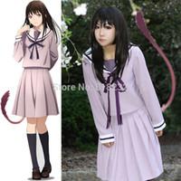 cosplay için sıcak elbiseler toptan satış-Sıcak Anime Noragami Yukine Iki Hiyori Okul Üniforma Sailor Suit Kıyafet Cosplay Kostümleri Sailor Elbise Cosplay