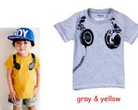 Wholesale Baby Earphones - 2016 Children's T-shirts Kids Boys Summer Cotton earphone Cartoon Jumper tops baby boy grey yellow tshirts babies clothing