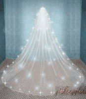 Wholesale Bridal Tulle Shawl - White Ivory 2T Cathedral Wedding Bridal Cathedral Veils Shawl Comb Beaded Veils