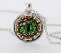 Animaux de couverture Eye Clock Montre Collier Steampunk Pendentif gros bijoux de Green Cat CN798