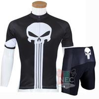 Wholesale Punisher Jersey - 044 PUNISHER BLACK SKULL Unique Men Short Sleeve Cycling Kit Bike outlet ciclo Jersey + Shorts Plus Size maillot Gel pad Geniune Paladin