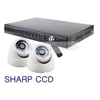 Wholesale Dome Camera System Sales - Hot sale free shipping cctv 2 ch system, video surveillance System SHARP CCD 420TVL Dome Cameras Kit