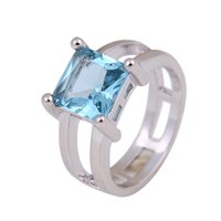 Wholesale Wholesale Blue Jewelry - Hot Sell Women Fashion Jewelry beautiful S925 sterling silver Blue CZ Wedding Ring Size 7 8 9