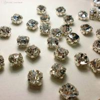 cristal rhinestone cristal chatons venda por atacado-Atacado-144ps SS28 6.0mm garras de strass banhado a prata configuração Crystal Clear cor strass Chatons pedras de vidro de cristal Sew on