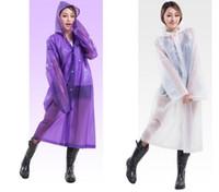langer transparenter regenmantel großhandel-Neue Frauen EVA Transparent Regenmantel Poncho Tragbare Umwelt Licht Regenmantel Lange Nutzung Regen Mantel Hogard