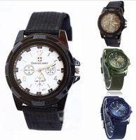 relojes gemelos al por mayor-2016 Moda de Lujo Analógico Suizo Gemius Tela de Tela de Ejército Relojes de pulsera Deporte Estilo Militar Relojes de pulsera para Ginebra cuarzo Relojes de Los Hombres